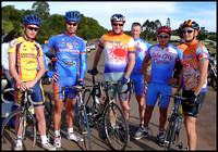 Jack Hudson, Leighton Jefferson, Ross Cattle, Paul James, Dan San Martin, and Matt Wolstencroft at Maleny Road Race