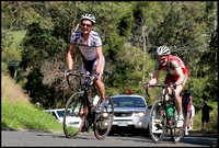 Peter Garrone (Pensars - Uni) and Andrew Hanigan (Praties) on the climb of Old Coach Road