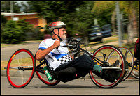 Mike Nugent, winner of the hand cycle race.